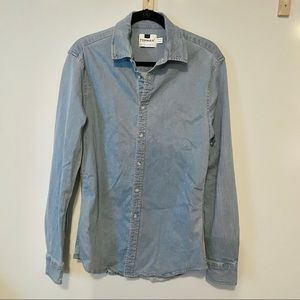 Topman Chambray Button Down Shirt L